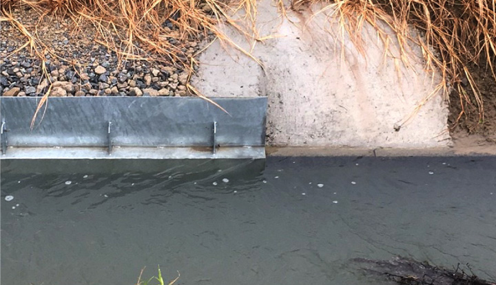 増水しても水があふれない水路に