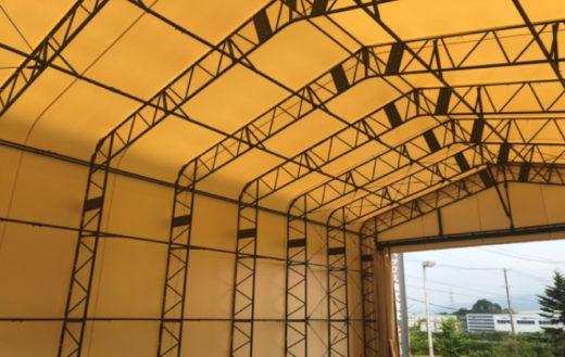 工場用テント大型ウィング車・リフト作業の動線も確保
