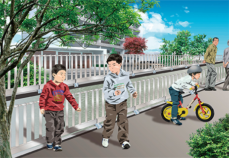 用水路の転落防止柵サクットガードの施工イメージ