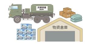 救援物資や余剰在庫の一時倉庫